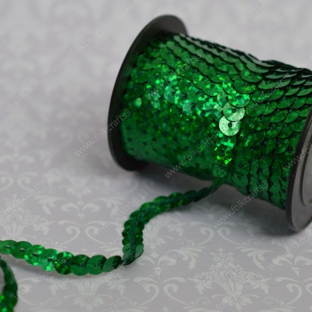 Пайетки на нити голография - Зеленые