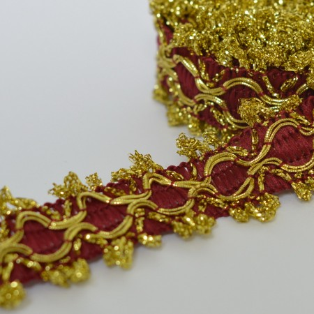 Декоративная тесьма 15мм - Бордовая с золотом