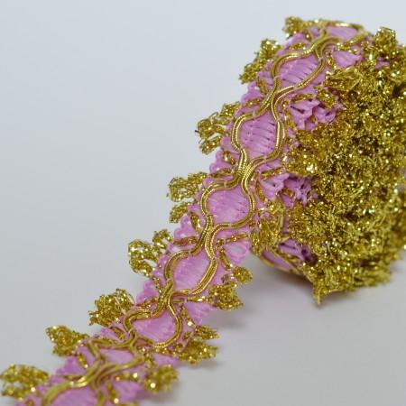 Декоративная тесьма 15мм - Сиреневая с золотом