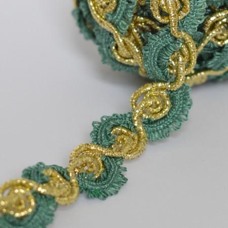 Декоративная тесьма 10мм - Зеленая с золотом