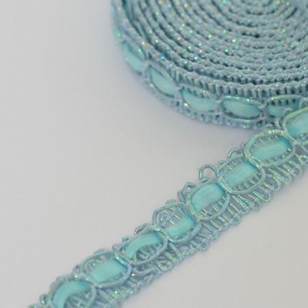Декоративная тесьма 10мм - Голубая с серебром