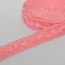 Декоративная тесьма 10мм - Розовая с серебром
