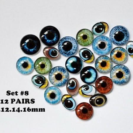 Набор глаз стеклянных для игрушек №8