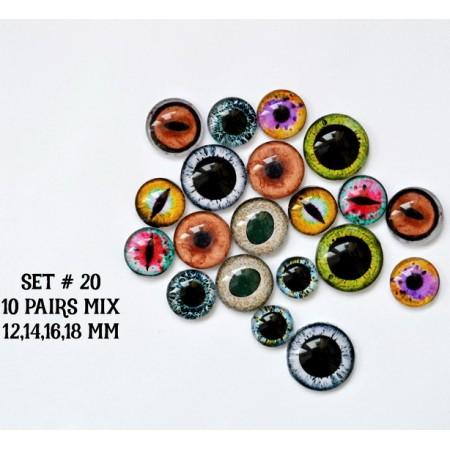 Набор глаз стеклянных для игрушек №20
