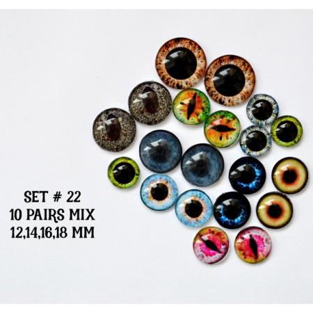 Набор глаз стеклянных для игрушек №22