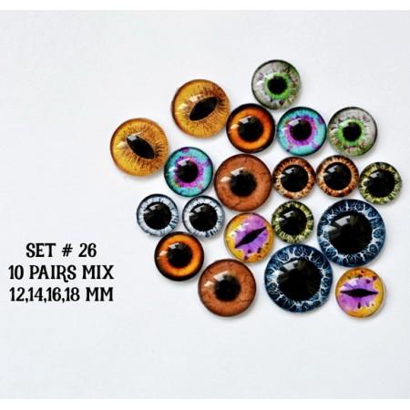 Набор глаз стеклянных для игрушек №26