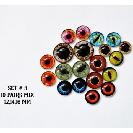 Набор глаз стеклянных для игрушек №5