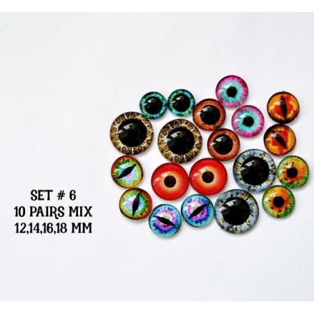 Набор глаз стеклянных для игрушек №6