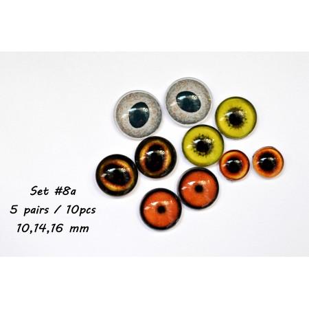 Набор глаз стеклянных для игрушек - А*8