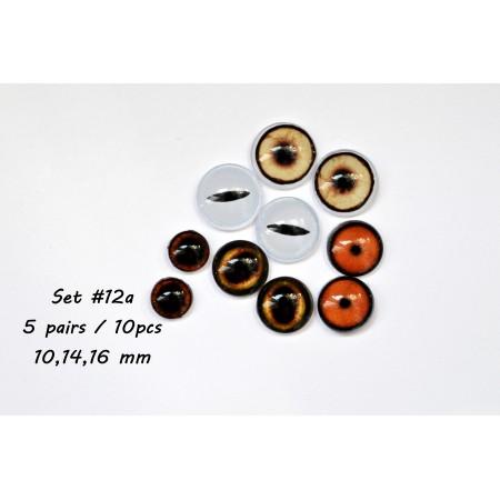 Набор глаз стеклянных для игрушек - А*12