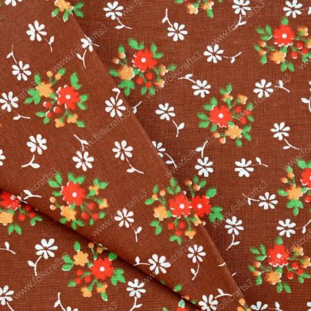 Польский хлопок - Цветы на коричневом
