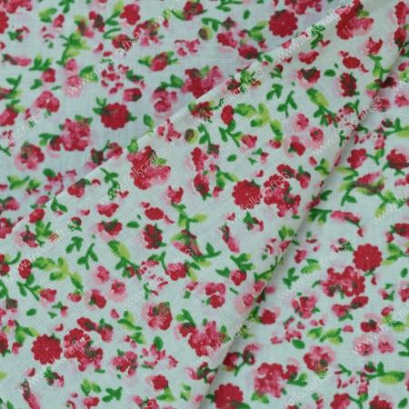 Польский хлопок - Красные Цветы на белом