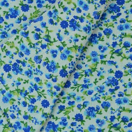 Польский хлопок - Синие цветы на белом