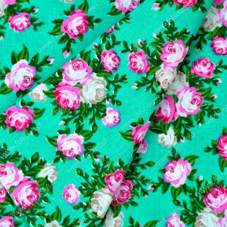 Польский хлопок - Цветы на зеленом