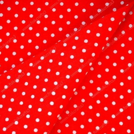 Польский хлопок Красный в белый горох
