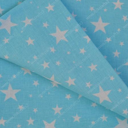 Польский хлопок - Звезды на голубом