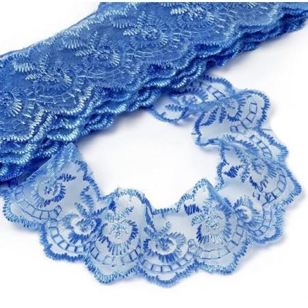 Кружево капроновое вышитое 40 мм - Синее