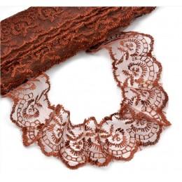 Кружево капроновое вышитое 40 мм - темно коричневое