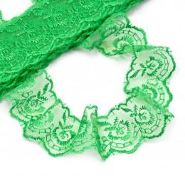 Кружево капроновое вышитое 40 мм - темно зеленое