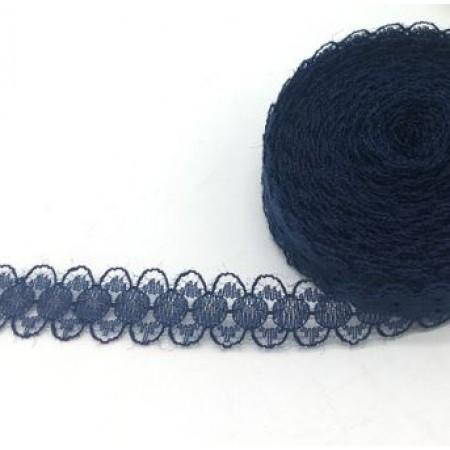 Кружево нежное тонкое 15мм - Синее