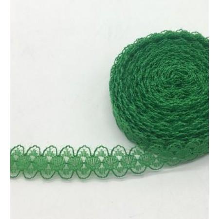 Кружево нежное тонкое 15мм - Зеленое