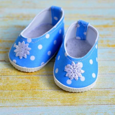 Туфли для куклы 7см - Голубые